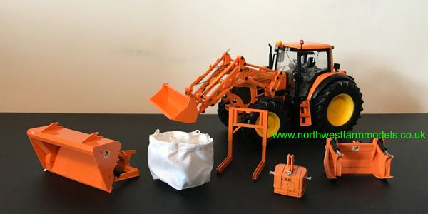 WIKING 1:32 JOHN DEERE 7430 WITH FRONT LOADER AND ATTACHMENTS (ORANGE)