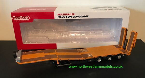 MARGE MODELS 1:32 SCALE NOOTEBOOM MCOS SEMI LOWLOADER TRAILER - YELLOW
