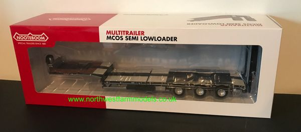 MARGE MODELS 1:32 SCALE NOOTEBOOM MCOS SEMI LOWLOADER TRAILER ANTHRACITE WITH METAL GRIDS