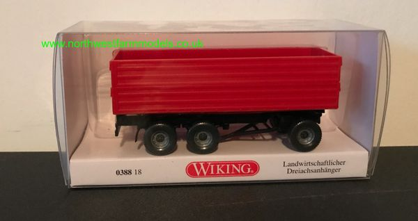 WIKING 1:87 SCALE 038818 3 AXLE RED TRAILER
