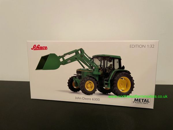 SCHUCO 1:32 SCALE JOHN DEERE 6300 WITH FRONT LOADER AND BUCKER