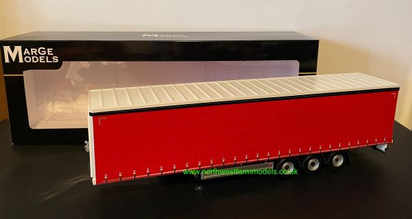 MARGE MODELS 1:32 SCALE PACTON CURTAINSIDE TRAILER (RED)
