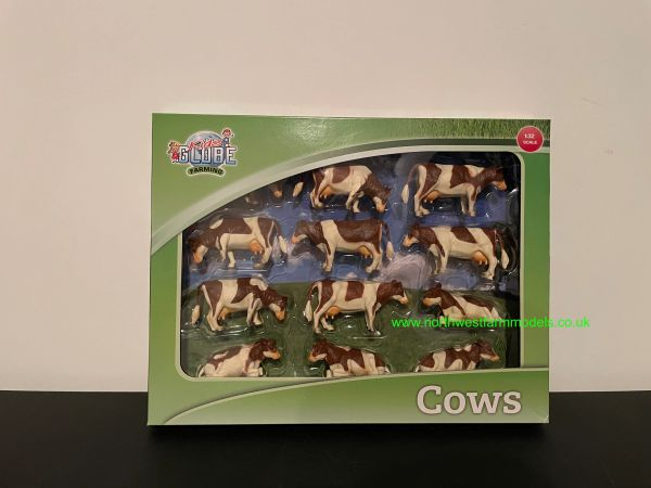 KIDS GLOBE 1:32 SCALE 12 PACK OF BROWN AND WHITE COWS