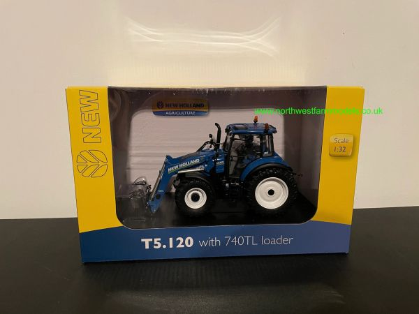 UNIVERSAL HOBBIES 1:32 SCALE NEW HOLLAND T5.120 WITH FRONT LOADER