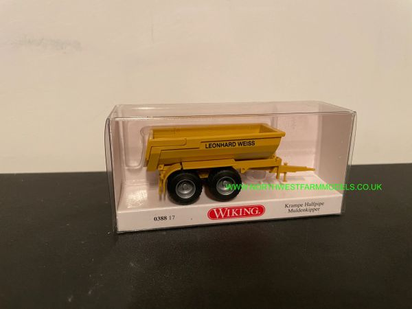 WIKING 038817 1:87 SCALE KRAMPE HALF PIPE TIPPING TRAILER YELLOW