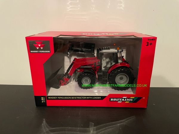 BRITAINS 1:32 SCALE MASSEY FERGUSON 6616 WITH FRONT LOADER AND ATTACHMENTS