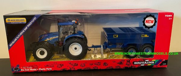BRITAINS 43268 1:32 SCALE NEW HOLLAND T6.180 WITH NC DUMP TRAILER SET