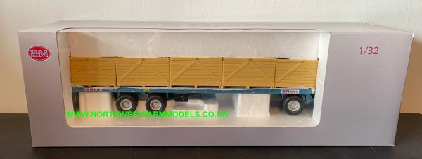 REPLICAGRI 1:32 SCALE MAUPU PALOX FLATBED TRAILER WITH BOXES (BLUE)