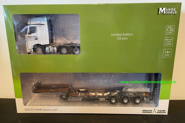 MARGE MODELS 1:32 SCALE MERCEDES BENZ ACTROS 6X2 WITH NOOTEBOOM TRAILER - DEUTZ FAHR EDITION LIMITED EDITION