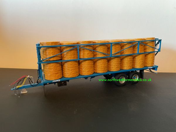 HAND BUILT 1:32 SCALE STEWART TANDEM AXLE BALE TRAILER WITH DROP DOWN SIDES