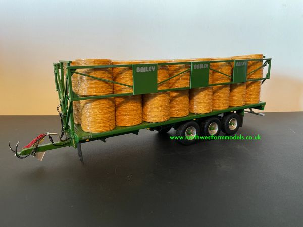 HAND BUILT 1:32 SCALE BAILEY BALE TRAILER TRIPLE AXLE WITH DROP DOWN SIDES