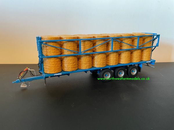 HAND BUILT 1:32 SCALE STEWART TRIPLE AXLE BALE TRAILER WITH DROP DOWN SIDES