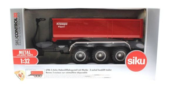 SIKU CONTROL 1/32 SCALE 6786 KRAMPE TRIPE AXLED HOOKLIFT TRAILER