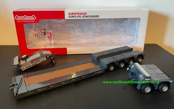 MARGE MODELS 1:32 SCALE NOOTEBOOM EURO LOW LOADER WITH INTER DOLLY (ANTRACITE)
