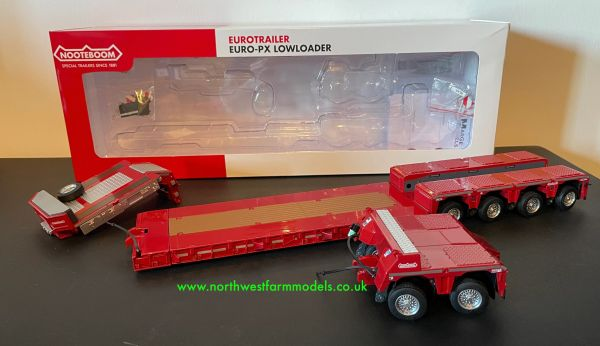 MARGE MODELS 1:32 SCALE NOOTEBOOM EURO LOW LOADER WITH INTER DOLLY (RED)