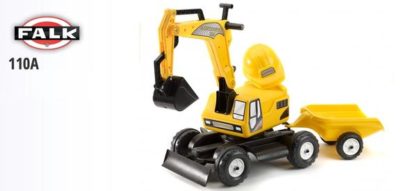 FALK RIDE ON TOYS YELLOW EXCAVATOR WITH TRAILER AND HARDHAT