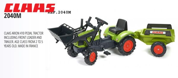 FALK RIDE TOYS CLAAS ARION 410 TRACTOR WITH FRONT LOADER AND TRAILER