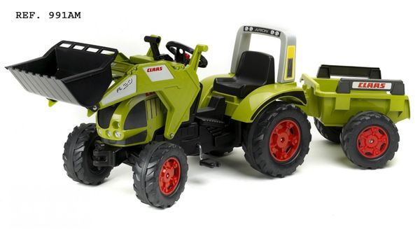 FALK RIDE ON TOYS CLAAS ARION 540 PEDAL TRACTOR WITH FRONT LOADER AND TRAILER
