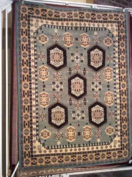 Blue gray geometric pattern 5x8 machine made rug