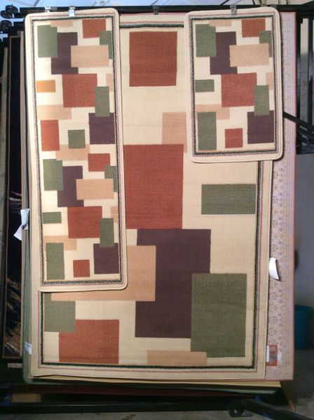 3 piece-set creme 5x8 rug machine-made rugs