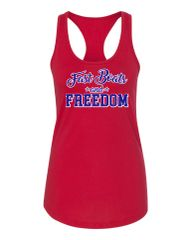 Fast Boats and Freedom Red Racerback Tank