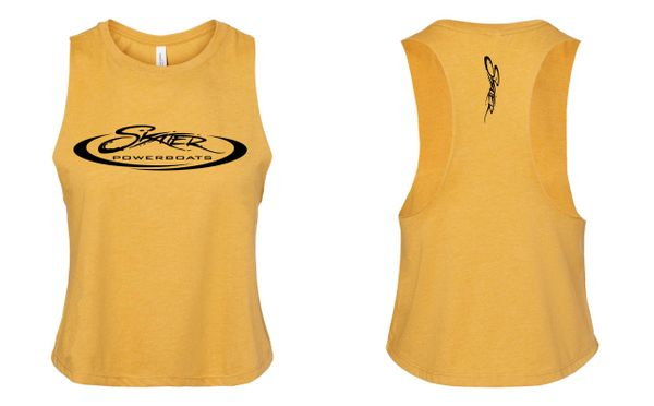 Heather Gold Racerback Cropped Tank