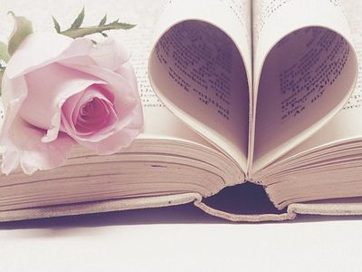 A pink rose laying next to a heart made out of a book pages.