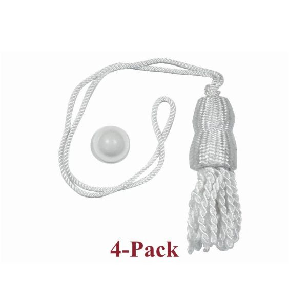 WHITE SHADE TASSELS & Screw Buttons for Roller Window Shades (4-Pack)