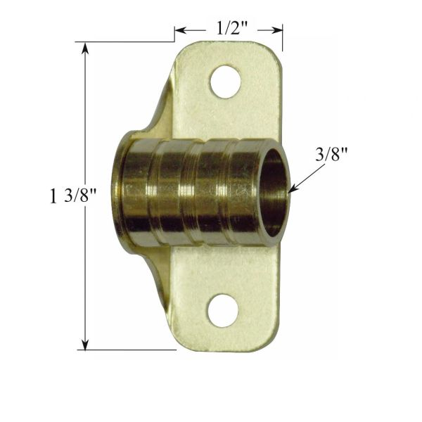 """1 Pair OUTSIDE MOUNT Brass Plated BRACKETS for 3/8"""" Rodding Doors & Sidelights"""