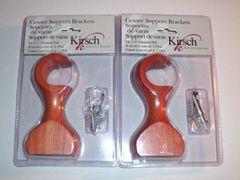 """One Pair KIRSCH 1 3/8"""" WOOD POLE BRACKETS #5691G-082 Light Cherry 4 1/2"""" Return"""