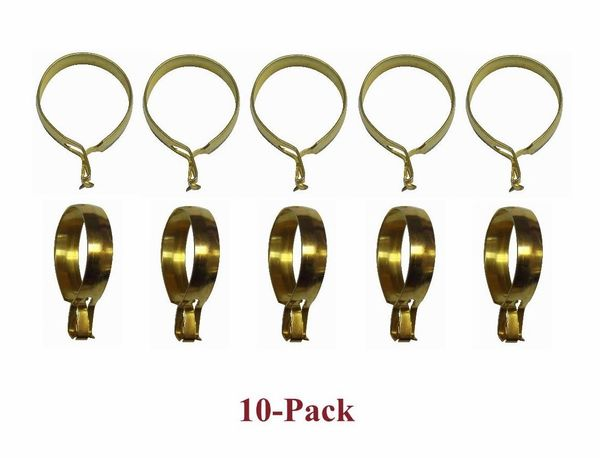 "1"" ROUND Brass Plated CLIP-ON Slide CAFE RINGS - (10-Pack)"