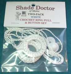 2 Pack SHADE DOCTOR Roller Window Shade DELUXE WHITE RING PULLS & Screw Buttons