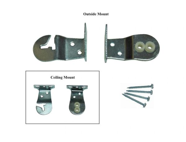 UNIVERSAL MOUNT BRACKETS for Standard Roller Window Shades with PROTECTIVE NYLON BUSHINGS (1-Pair)