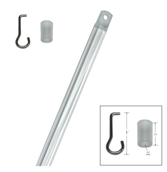 "30"" TILT WAND with HOOK & COLLAR Sleeve for Horizontal Blinds with a 1"" X 1"" Square Headrail"