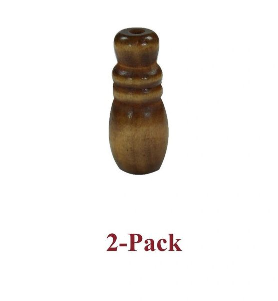 "1 5/8"" WALNUT Finish WOOD BLIND CORD TASSELS - Small Hourglass Design (2-Pack)"