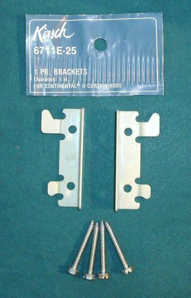 "1 Pair KIRSCH 2 1/2"" Continental II Valance Rod FLUSH MOUNT BRACKETS 6711E-025"
