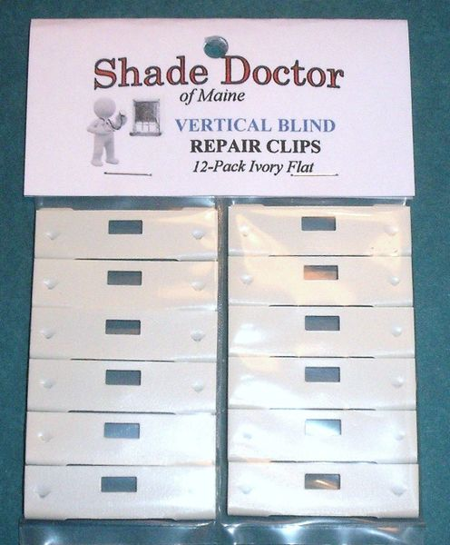The Original SHADE DOCTOR Vertical Blind IVORY FLAT Vane Saver REPAIR CLIPS 12pk