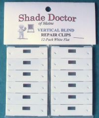 The Original SHADE DOCTOR Vertical Blind WHITE FLAT Vane Saver REPAIR CLIPS 12pk