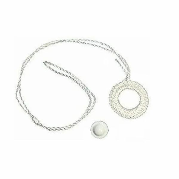 WHITE Crochet RING PULL with Higbee Button for Roller Window Shades (varying pack sizes)