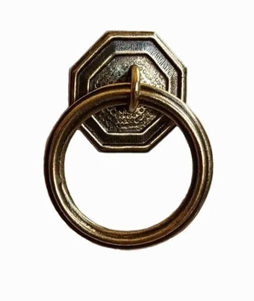 DESIGNER SERIES - Roller Window Shade RING PULL - Antique Brass HEXAGON ROUND