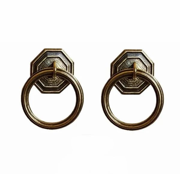 DESIGNER SERIES - Roller Window Shade RING PULLS - Antique Brass HEXAGON ROUND (2-Pack)