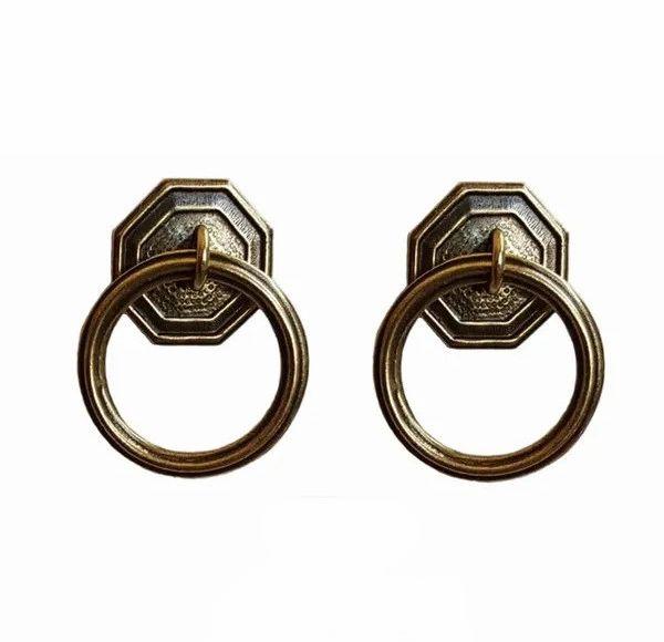 DESIGNER SERIES - Roller Window Shade RING PULLS - Antique Brass HEXAGON ROUND (2-Pack)
