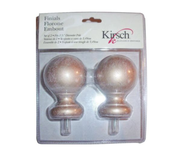"Kirsch ANTIQUE GOLD BALL FINIALS for 1 3/8"" Wood Pole #5608EG-073"