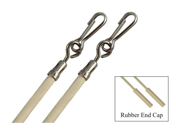 "29"" Vinyl Coated STEEL DRAPERY BATON Wand with Stainless Steel Hook (Almond) 2pk"