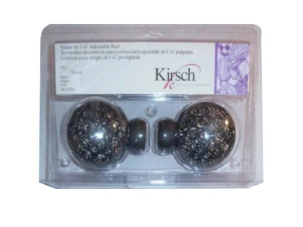 "Kirsch BLACK BALL Spiral Wire BALL FINIALS for 1 1/8"" Metal Pole Set #3614-754"