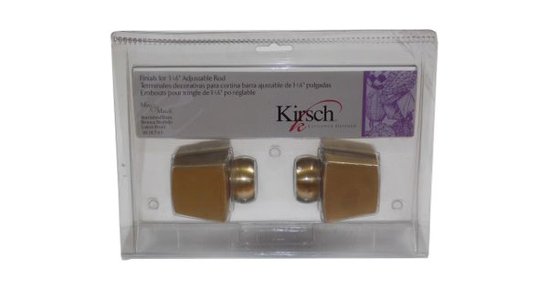 "Kirsch BURNISHED BRASS Tapered Square Finials for 1 1/8"" Metal Pole #3616-743"