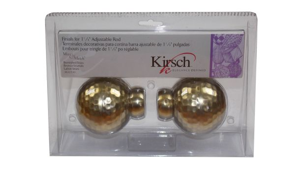 "Kirsch BURNISHED BRASS Hammered Ball Finials for 1 1/8"" Metal Pole 3633-743"