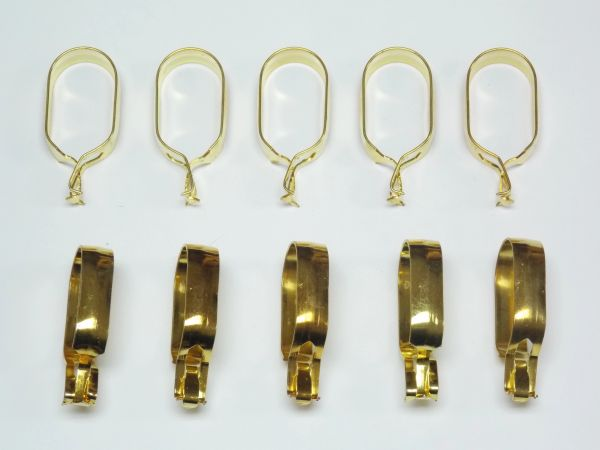 "1"" OVAL Brass Plated CLIP-ON Slide CAFE RINGS - (10-Pack)"