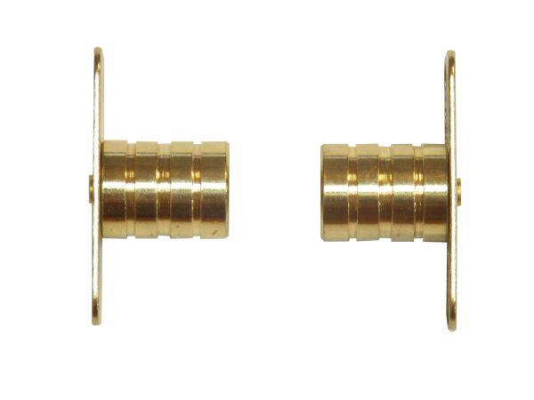 "INSIDE MOUNT Brass Plated BRACKETS for 3/8"" Rodding Doors & Sidelights (1-Pair)"