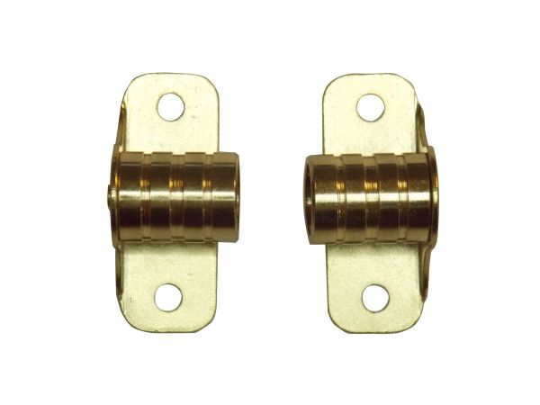 "OUTSIDE MOUNT Brass Plated BRACKETS for 3/8"" Rodding Doors & Sidelights (1-Pair)"